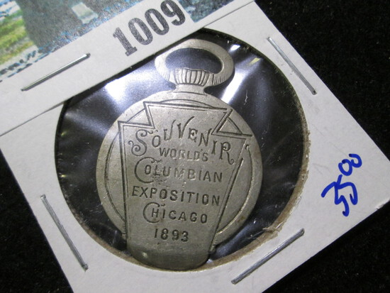 1893 Watch Fob Advertising Piece From The Columbia Expo Compliments Of Keystone Watch  Cas Co.