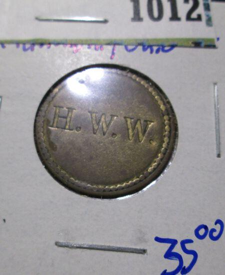 1800's Wright & Company Cincinnati, Ohio Store Card Token