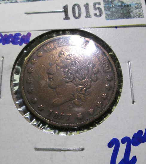 """1837 Hard Times Token """"Millions For Defense.  Not One Cent For Tribute"""""""