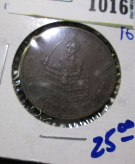 """1837 Hard Times Token.  Htt 69.  """" I Take The Responsibility On The Front"""""""