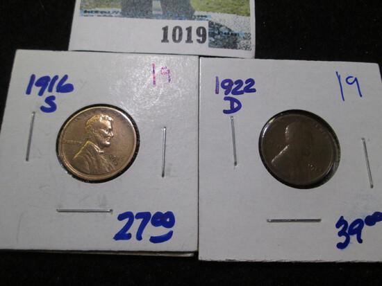 1916-S & 1922-D Wheat Cents