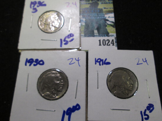 1916, 1930, & 1936-S Buffalo Nickel