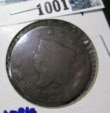 1822 Coronet Head Large Cent With N. York Counter Stamped On The Reverse