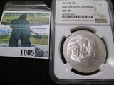 Uncirculated 2013-W Girl Scouts Centennial Silver Commemorative Dollar Graded Ms 70 By Ngc