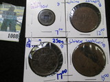 1877 Japanese Sen With Counterstamps & Some Chinese Cash Coins