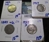 (2) 1883 No Cents V Nickels, 1929-D Buffalo Nickel, & 1927 Buffalo Nickel