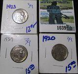 1920, 1923, & 1927 Buffalo Nickels