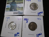 1929 Buffalo Nickel, 1929-S Mercury Dime, & 1931-D Wheat Cent