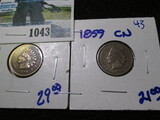 1859-Cn & 1897 Indian Head Cents