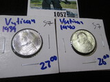 1939 & 1940 Silver 5 Lires Coins From The Vatican