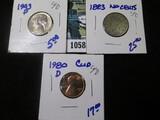 1943-P Silver War Nickel, 1980-D Clip Memorial Cent Error Coin, & 1883 No Cents V Nickel