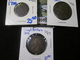 1788 Dutch Duit; 1891 Great Britain Half Penny; & 1862 Great Britain Large Penny.