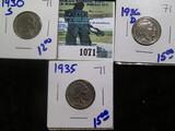 1930-S, 1935, & 1936-D Buffalo Nickels