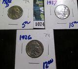 1926, 1928-D, & 1937 Buffalo Nickels