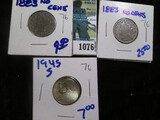 (2) 1883- No Cents V Nickels & a Silver 1945-S War Nickel