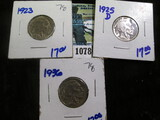 1923, 1925-D, & 1936 Buffalo Nickels