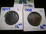 1845 & 1853 Large Cents