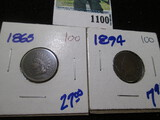 1865 & 1894 Indian Head Cents
