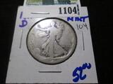 1917-D Obverse Mintmark Walking Liberty Half Dollar