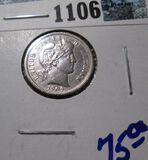 1909 Barber Dime With Full Liberty