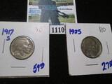 1917-S & 1925 Buffalo Nickels
