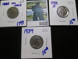 1883 No Cents V Nickel, 1934 Buffalo Nickel, & 1935-S Buffalo Nickel
