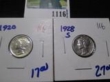 1920 & 1928-S Mercury Dimes
