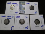 Low Grade & Holed Type Coins Lot Includes Half Dimes, Silver Three Cent Pieces, & A Bust Dime