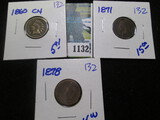 1860-Cn. 1878, & 1871 (partial hole) Indian Head Cents