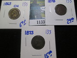 1863, 1873, & 1878 Indian Head Cents