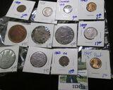 Mixed Coin Lot Includes A 1899-O Barber Quarter, Random Medals, 1863-Cn Indian Head Cent, & More