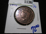 1837 Large Cent, Cleaned