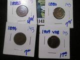 1883 Indian Head Cent, 1880 Indian Head Cent, 1894 Indian Head Cent, & 1909-Vdb Wheat Cent