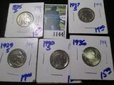 1925-D, 1929-S, 1930-S, 1936, & 1937-S Buffalo Nickels