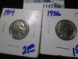 1914 & 1936 Buffalo Nickels