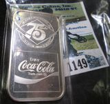 Silver One Ounce Coca Cola Art Bar Commemorating The 75th Anniversary Of The Coca Cola Bottling Plan