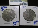 1917 & 1920-D Walking Liberty Half Dollars