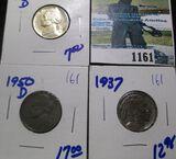 1945-D Silver War Nickel, Key Date 1950-D Jefferson Nickel, & 1937 Buffalo Nickel