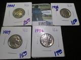1921, 1929, 1934, & 1934-D Buffalo Nickels