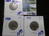 1883 No Cents V Nickel 1934 Buffalo Nickel, & 1937 Buffalo Nickel