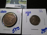1856 Braided Hair Large Cent & 1922-D Wheat Cent