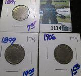 1891, 1899, & 1906 V Nickels