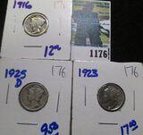 1916, 1925-D, & 1923 Mercury Dimes