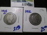 1904-O & 1912 Barber Quarters