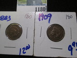 1883 & 1909 Indian Head Cents