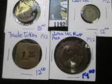 Exonumia Lot Includes John W Rapp Medal, 1931 American Legion Medal, Coal Scrip, & A Trade Token