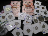 Hodgepodge Lot Includes 2 Vintage Dime Saver Books, Bicentennial Coin Set, Buffalo Nickels, Wheat Ce