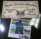 Pass For The World's Columbian Exposition Expressly For Chicago Day October 9th, 1893