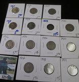 Holed Bust Half Dime, 7 Buffalo Nickels, & 6- V Nickels