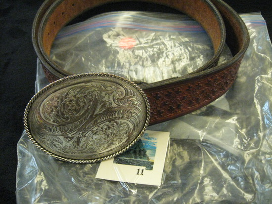 """Brown 42"""" hand tooled leather belt withornate, engraved Montana Silversmiths, Columbus Montana belt"""